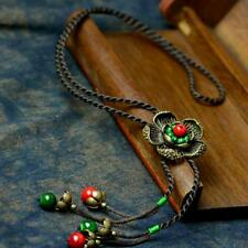 Vintage Necklace Flower Pendant Natural Stone Fashion Jewelry Adjustable Length
