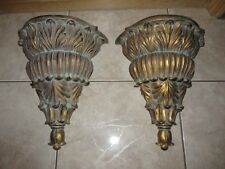 Vtg Pair Lg Acanthus Ornate Leaf Wall Shelves ~ Hollywood Regency Style ~ India