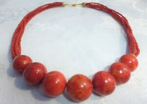 """BEAUTIFUL Multi-Strand with Large Beads CORAL NECKLACE 20"""" INCHES"""