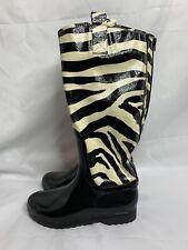 Chinese Laundry Black & White Animal Print Tall Zip Rain Boots Womens Size 8