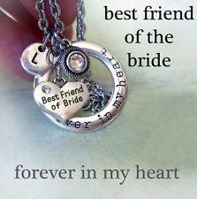 Best Friend of the Bride Forever In My Heart Necklace, Swarovski Birthstone, BFF