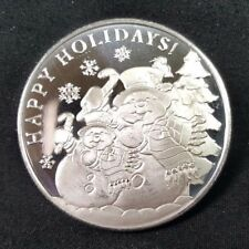 2017 1 Troy Ounce Snowman Season's Greetings .999 Fine Silver Round