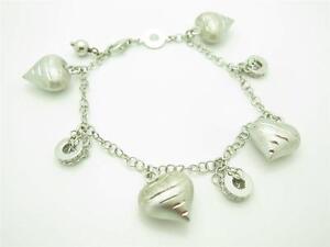 Nomination Italy Platinum Sterling Silver Link Design Heart Charm Bracelet Gift