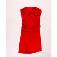 Suzi Chin x Maggy Boutique Red Satin Ruched Strapless Mini Cocktail Dress 10