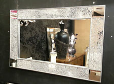 Crackle Design Wall Mirror Plain Silver Frame Mosaic Glass 90X60cm Mirror Corner