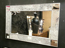 Diseño craquelado Espejo De Pared Plain Silver marco Mosaico Vidrio 90x60cm Espejo Esquina