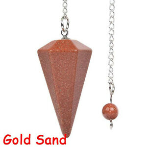 Natural Stone Crystal Hexagonal Pointed Reiki Chakra Cone Pendant Pendulum