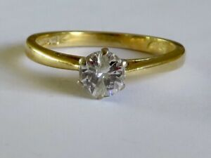 GORGEOUS 30 POINT DIAMOND SOLITAIRE RING IN 18K YELLOW GOLD