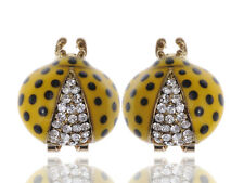 Painted Ladybug Insect Stud Earrings Fun Big Rounded Clear Crystal Rhinestone