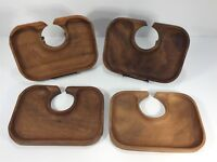Vintage Mid Century Party Serving Trays Drink Holder Wood Set of 4
