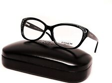 COACH 6076 5002 Eyeglasses Optical Frames Glasses Black & Silver Logo 53mm
