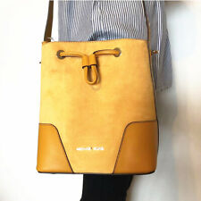 NWT Michael Michael Kors Cary Suede Leather Small Bucket Crossbody Bag Marigold