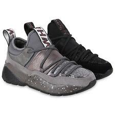 Damen Plateau Sneaker Turnschuhe Schnürer Glitzer Plateauschuhe 824321 Schuhe