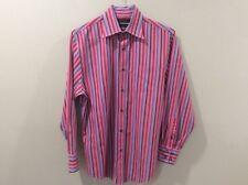 Men's Long Sleeve Dress Shirt Orange Lt Orange/Pink Dk Burgundy Stripes Lge