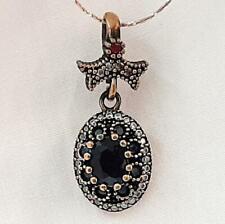 Deco 2.25ct Sapphire, Ruby & Diamond Cut Sapphire 14K Yellow Gold Silver Pendant