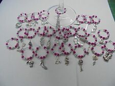 6 x Wine glass charms - 50 Fifty Shades of Grey inspired - in organza bags - Hen