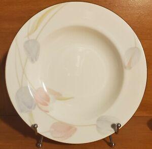"Mikasa Bone China SWISS GARDEN Rim Soup bowl, 8 3/4"", CR009, Gold trim Excellent"