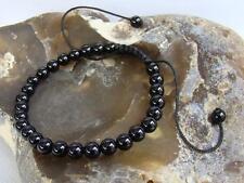 Men's Women's Shamballa Bracelet 6mm BLACK AGATE gemstone beads 7.5inch