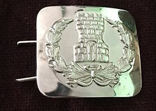 Uniform silver metal buckle in use with the belt of the Military College Cadet