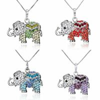 Women Silver Tone Crystal Rhinestone Elephant Pendant Necklace Jewellery Gift