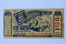 Used 1939 Indianapolis 500 / Indy 500 Race day Grandstand ticket, with raincheck