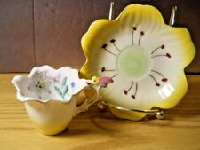 Trimont Japan Yellow Flower Teacup Saucer Hand Painted Cicada Bug Handle Semi
