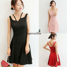 Korean Fashion Women Summer Strap Slim Party Club Short Mini Dress Sundress S