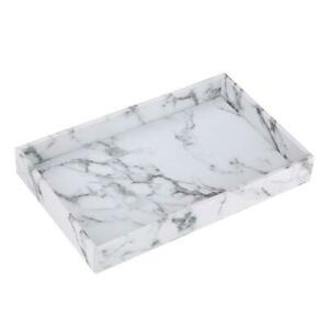 Marble Print Serving Tray Faux Leather for Coffee Kitchen Modern Decorative