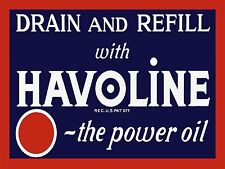 Havoline Drain Oil Gas ad High Quality Metal Magnet 3 x 4 inches Fridge 9329