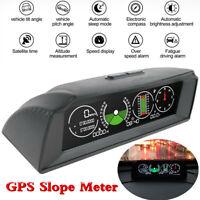 Vehicle GPS Slope Meter Inclinometer Alarm Speed Tilt Pitch Multifunction Gauge