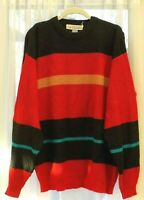 Vintage Le Tigre Men's XL Acrylic pullover Sweater--bright stripes