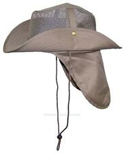 Summer Wide Brim Mesh Safari/Outback Hat W/Neck Flap #982 Tan XL