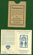 VINTAGE CAMP FIRE GIRL - 1937 GARDIAN MEMBERSHIP CARD - NOT SCOUT