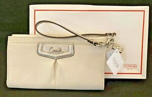 NWT Authentic COACH Ashley Leather WALLET/Wristlet – F48124 Ivory/Silver - w/box