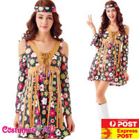 Ladies 1960s Retro Groovy Costume Hippie Hippy Lady 60s 70s Disco Fancy Dress