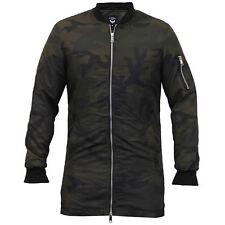 Mens Camo Jacket Brave Soul Harrington Long MA1 Mac Trench Coat Army Military