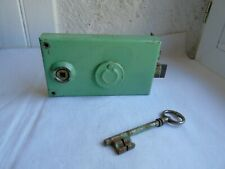 French antique vintage iron  door latch lock with key solid hardware