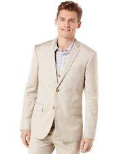 PERRY ELLIS Big And Tall Textured  Linen Natural Linen Jacket Blazer 46LNG