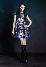 SUSAN REP -Melbourne Designer DRESS small animal print leopard blue prom formal