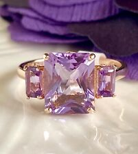 Solid 14K Rose Gold, Genuine Amethyst (3.38ct) & Diamond 3 Stone Ring, New, Sz 7