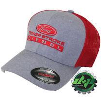 Red ford powerstroke flexfit fitted trucker ball cap hat back diesel gear OSFA