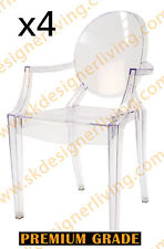 SKDL | 4 x Replica Louis Ghost Arm Dining Chair | Clear Transparent