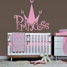 Wall Decal Princess Crown Nursery Inscription Letter Cartoon Cheerful Girl M607