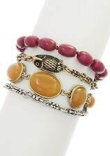 NWT LUCKY BRAND Carnelian Red Bead Owl Accent Layered Two-Tone Toggle Bracelet