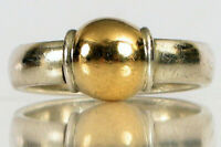 VINTAGE DESIGNER SIGNED CAPE COD 14K YELLOW GOLD STERLING SILVER BALL RING S6 !