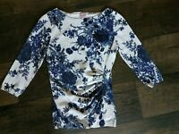 Phase Eight Fitted Gathered 3/4 Floral Top Blue Size UK 10