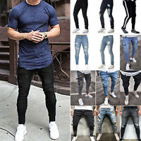 Men's Destroyed Denim Biker Jeans Skinny Slim Pants Ripped Frayed Long Trousers