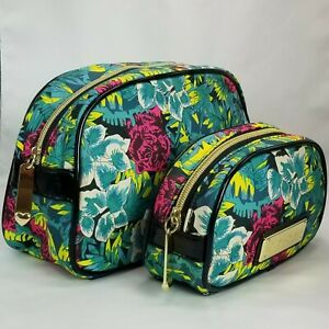 Betsey Johnson 2pc Travel Case Cosmetic Bag Set Tropical Jungle Pink Tiger Print