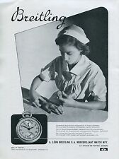 Breitling Chronograph Pulsometer Stopwatch Advert Vintage 1940 Swiss Print Ad