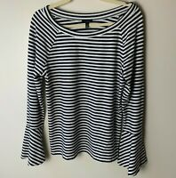 Talbots Women's Top Size Large 3/4 Bell Sleeves Stripes Cotton Blend Casual